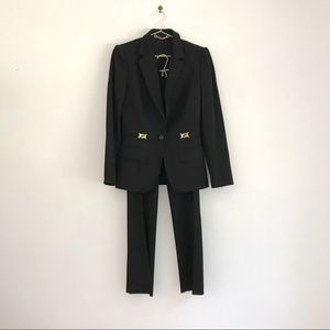 Gucci Black Wool Pant Suit w/ GG Logo Hardware
